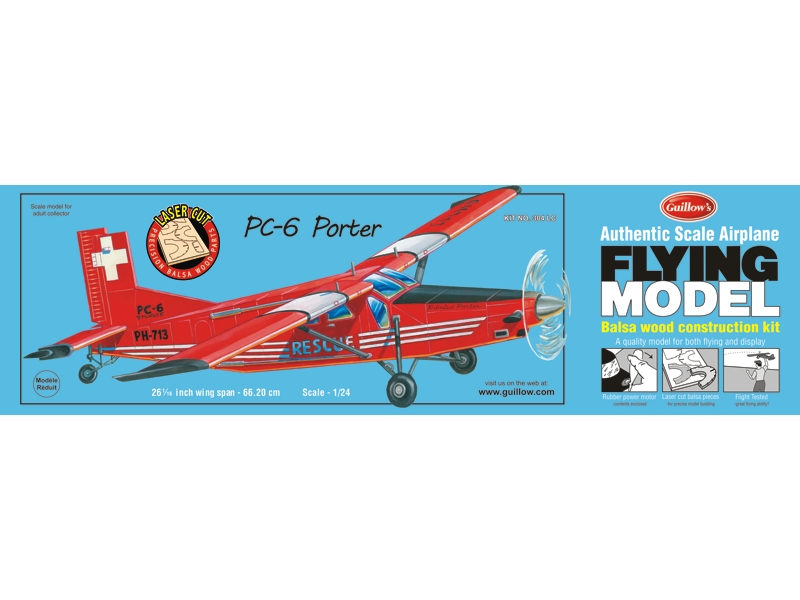 PC-6 Porter Guillows Balsa Model Airplane 03-304LC